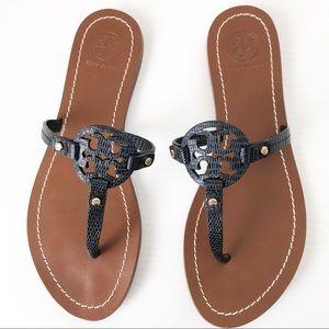 Tory Burch Mini Miller Navy Sandals, 7